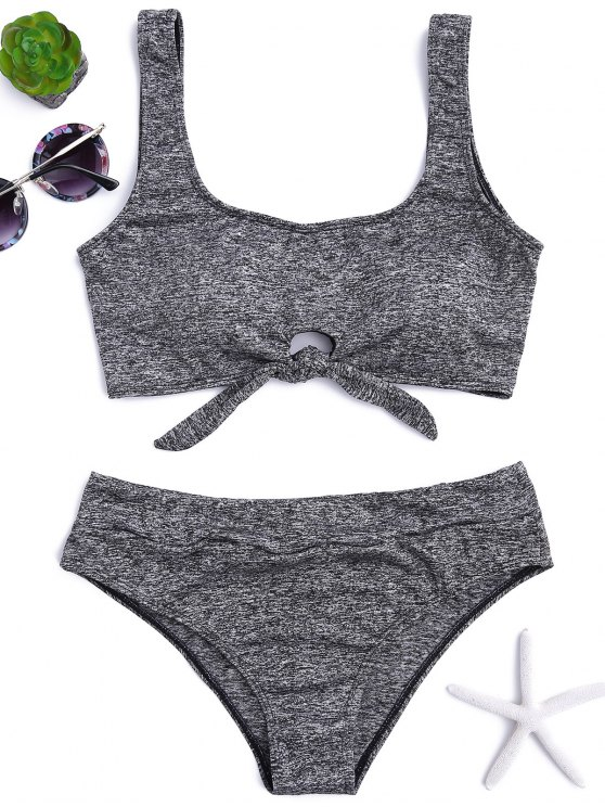 affordable Heathered Front Tied Bikini Set - GRAY S