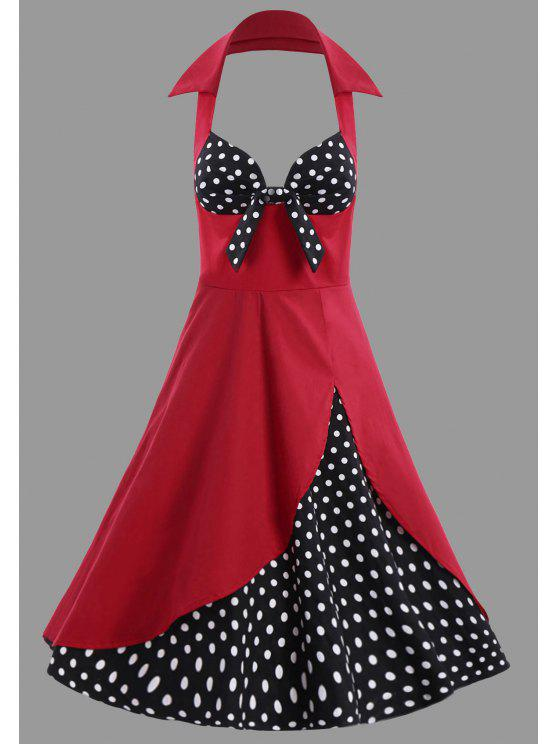 2018 Polka Dot Halter Plus Size Vintage Dress In Red 3xl Zaful