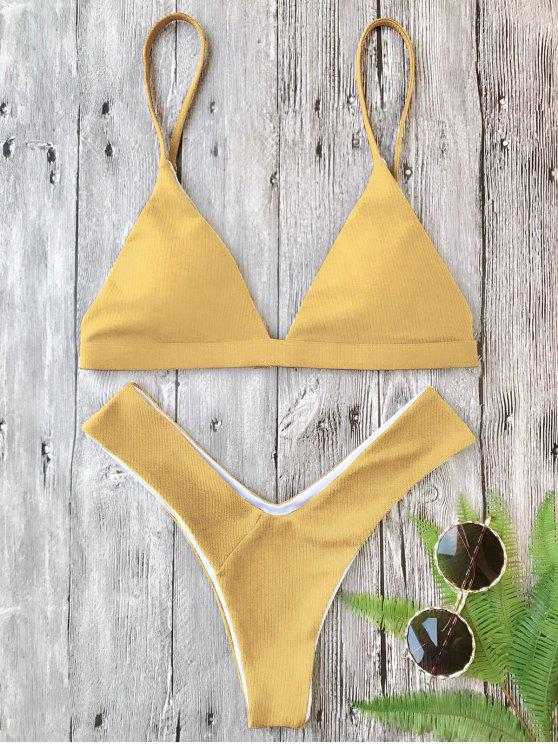 shops Plunge Padded Textured High Cut Bikini Set - GINGER S