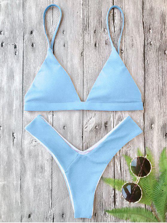 Ensemble Bikini Texturé Rembourré Plongeant à Coupe Haute - Bleu Léger  S