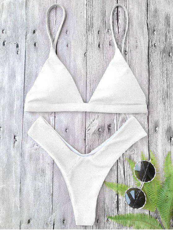 best Plunge Padded Textured High Cut Bikini Set - WHITE M