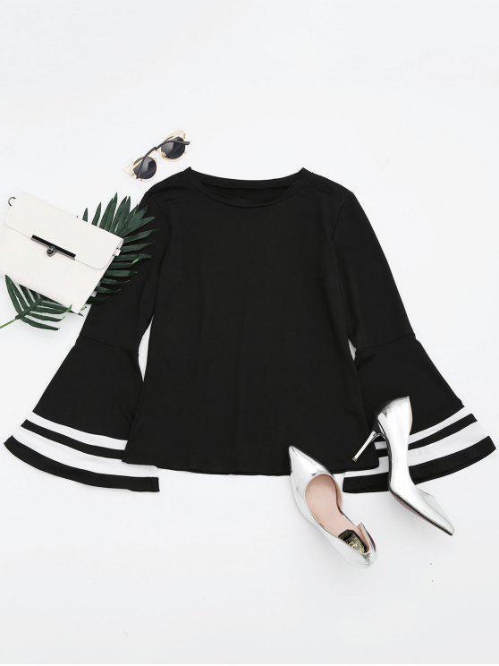 T-shirt Manches Évasées Contrastré Épaule Tombante - Noir L