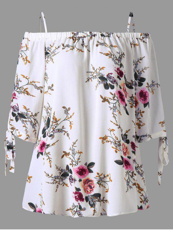 Blouse Grande Taille Florale Épaules Ouvertes - Blanc 2XL
