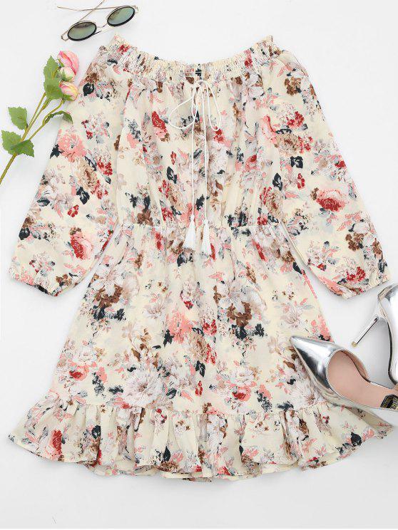 فستان كشكش الحاشية طباعة الأزهار - اللون البيج S