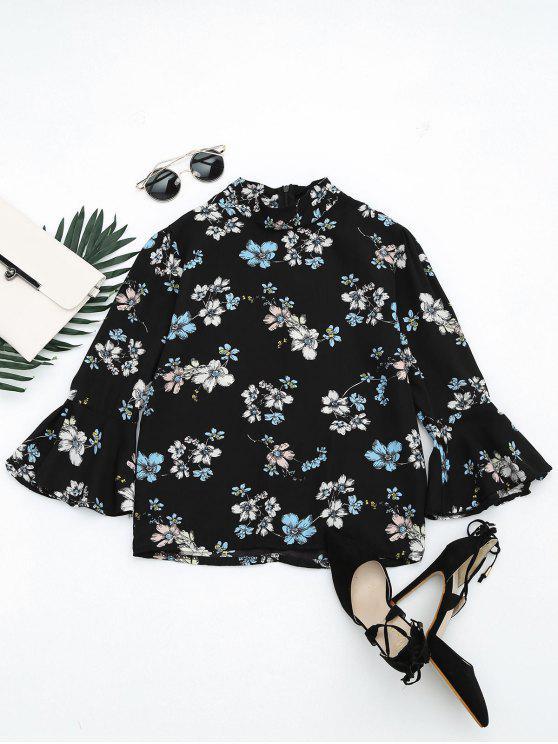 بلوزة توهج الأكمام طباعة الأزهار - أسود XL