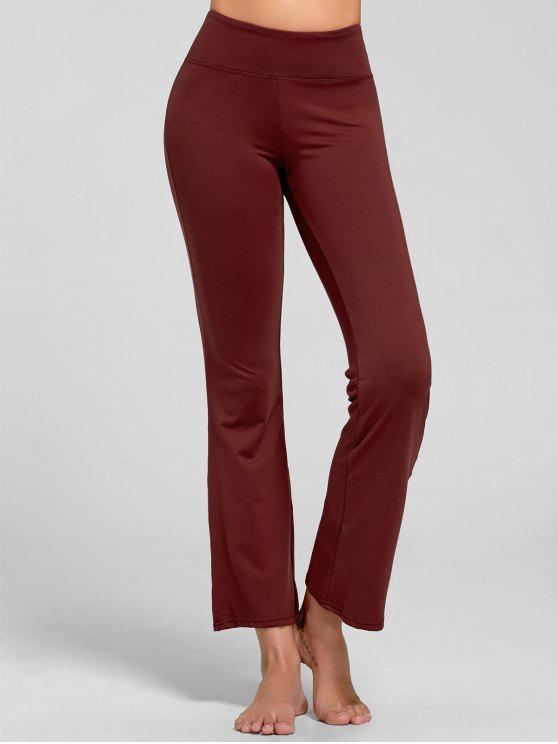 Pantalones de yoga Bootcut de estiramiento con bolsillo - Burdeos M