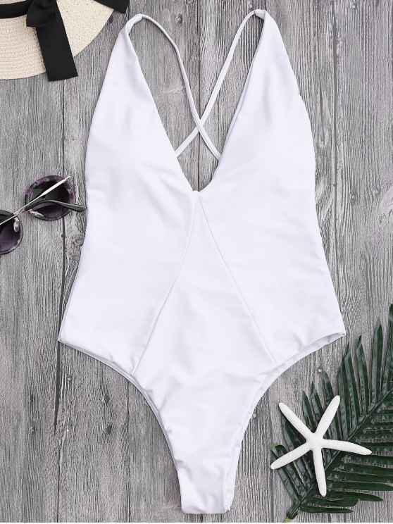 trendy One Piece High Cut Cross Back Swimwear - WHITE S