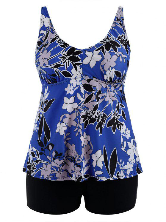 trendy Floral Padded High Waisted Plus Size Tankini Set - BLUE XL