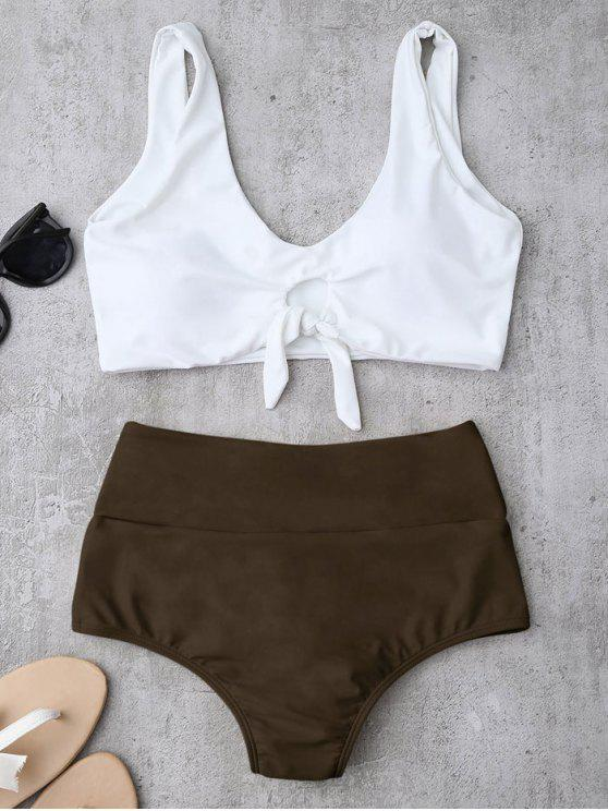 women Knotted High Waisted Ruched Bikini Set - BROWN L