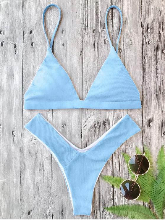 hot Plunge Padded Textured High Cut Bikini Set - LIGHT BLUE M