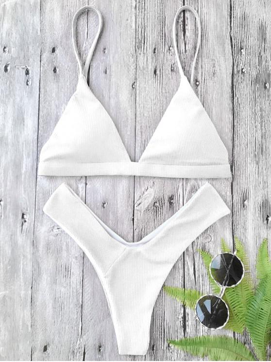 online Plunge Padded Textured High Cut Bikini Set - WHITE S