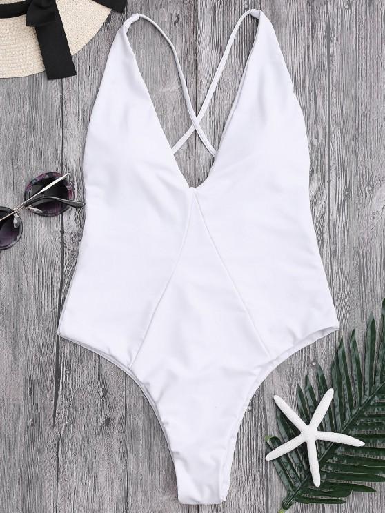 لباس سباحة من قطعة واحدة برباط متقاطع في الخلف - أبيض L