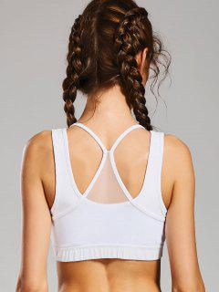 Padded Mesh Panel Full Cup Sporty Bra - White M