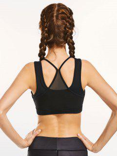 Mesh Panel Full Cup Padded Sporty Bra - Black L