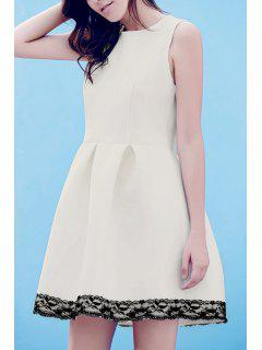 Lace Splice Round Neck Sleeveless Flare Dress - White M