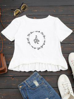 Ruffles Graphic Cotton Top - White 35