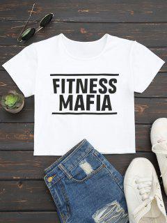 Camiseta De Algodón Recortada Letra - Blanco S