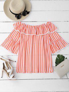 Overlay Rüschen Aus Schulter Bluse - Orange Pink  L