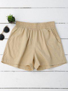 Casual High Waisted Shorts - Khaki S