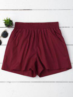 Casual High Waisted Shorts - Wine Red M