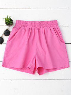 Pantalones Cortos Ocasionales De Alta Cintura - Púrpura Rosácea S