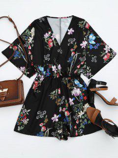 Elastic Waist Floral Kimono Romper - Black S