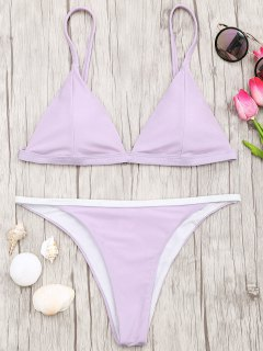 Soft Pad Bikini Top And Tanga Bottoms - Purple M