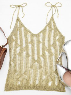 Sheer Metallic Geometric Cami Top - Golden