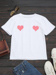 Camiseta De Cuello Redondo Con Estampado De Corazón - Rosado S