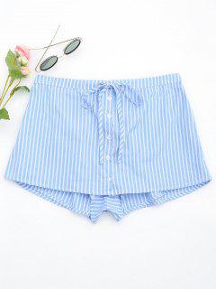 Drawstring Button Up Striped Skorts - Light Blue S