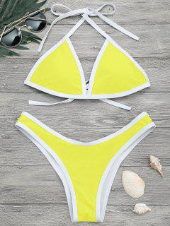 High Cut Contrast Piping Bikini Set - Lemon Yellow L
