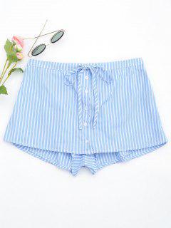 Drawstring Button Up Striped Skorts - Light Blue L