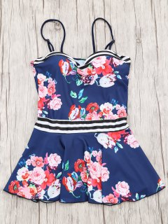 Skirted Moulded Tankini Top And Bikini Bottoms - Navy Blue L