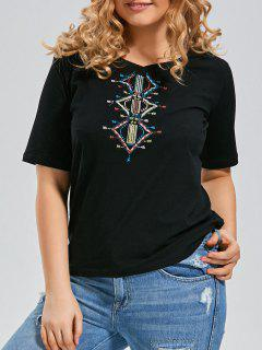 Embroidered V Neck Plus Size T-shirt - Black Xl