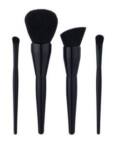 4Pcs Gourd Shaped Handle Makeup Brushes Set - Black