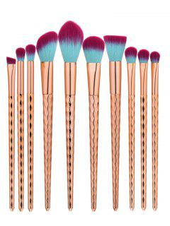 Nylon Wave Handle Makeup Brushes Set - Rose Gold