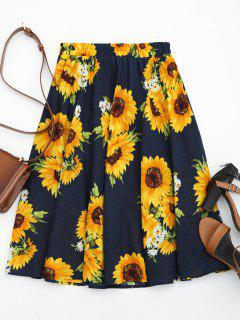 Sunflower Print High Waist Skirt - Floral