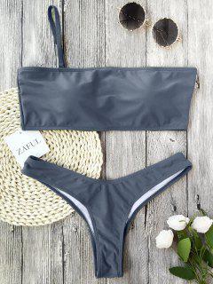 Gepolsterter Einband-Bandeau-String-Bikini - Grau S