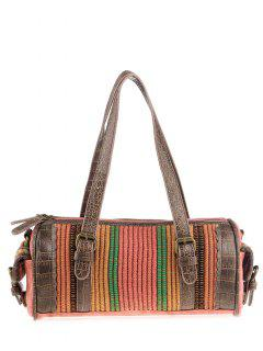 Tribal Cylinder Shaped Canvas Tote Bag - Watermelon Red