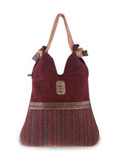 Linen Large Boho Shoulder Bag - Wine Red