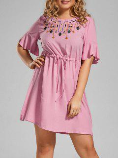 Plus Size Embroidered Belted Ruffles Dress - Pink 3xl