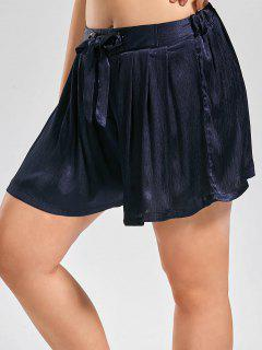 Plus Size Crushed Self Tie Shorts - Cerulean 2xl