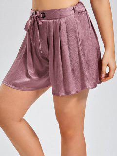 Plus Size Crushed Self Tie Shorts - Pinkish Purple Xl