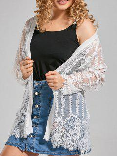 Plus Size Lace Cover Up Kimono Top - White 4xl