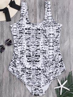 Tie Dye Übergröße Badeanzug Mit Schaufel Ausschnitt - Xl
