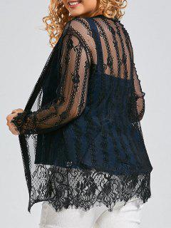 Plus Size Lace Cover Up Kimono Top - Black 4xl