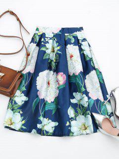 Floral Print A Line Skirt - Floral