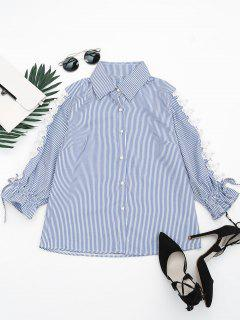 Hollow Out Beading Button Up Shirt - Stripe S