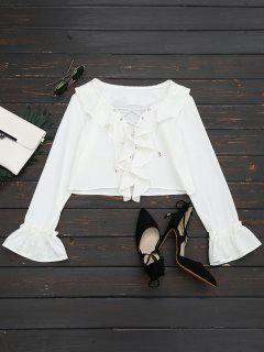 Lace Up Ruffle Hem Crop Blouse - White M