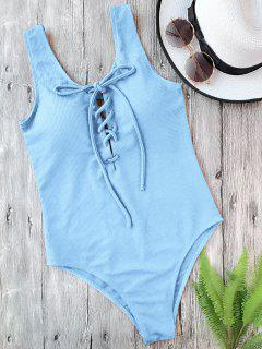 Textured Padded Lace Up One Piece Swimsuit - Light Blue L